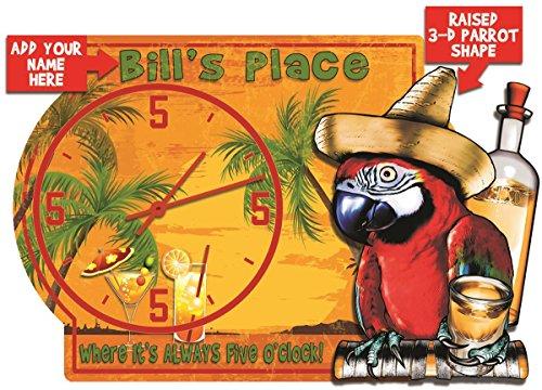 Redeye Laserworks Tiki Bar Always Five O clock Tequila Parrot 3-D Wall Clock – Personalized
