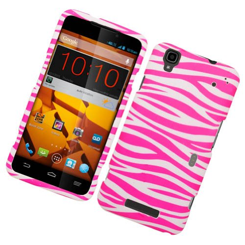 Rubberized Plastic Pink And White Zebra Hard Cover Snap On Case For ZTE Boost Max N9520 (Accessorys4Less)