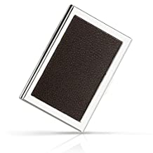 HOMETEK™ High Quality PU Leather Stainless Steel Credit Card Holder for Men & Women - RFID Credit Card Holder Wallet Offers Best Protection Against RFID Scanning Criminals - Cool Slim Metal Business Card Case (Brown)
