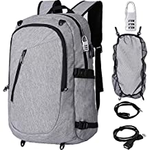 YIDUGO Laptop Backpack for Men Boys, Anti Theft Water Resistant College Basketball Bookbag w/USB Charging Port,Slim Business Travel Sports Computer Bag Fits 15.6 inch Notebook and Tablet Grey