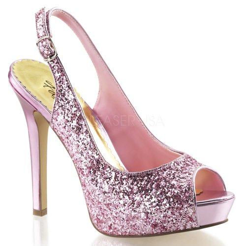 Fabalia Dames Lumina 28g Fashion Open Teen Pumps Baby Roze Glitter
