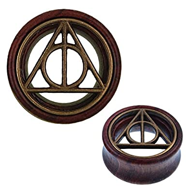 Amazon.com: Chic-Net Wood Tunnel Deathly Hallows Brass Inlay ...