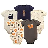 Hudson Baby Baby Bodysuits, 5 Pack, Woodland Creatures, 0-3 Months