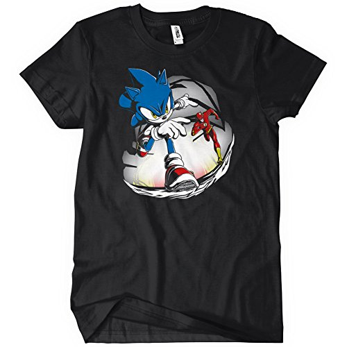 Sonic Vs Flash Womens Funny T-Shirt Tee Hedgehog Superhero Running Race (Female Sonic The Hedgehog)
