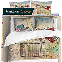 PRUNUSHOME Breathable Bedding Small Birds Cage and Flowers Vintage Rustic Fleur Lis Home Collection Queen