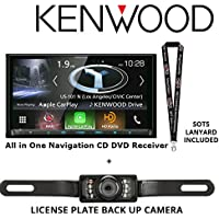 Kenwood DNX874S In Dash Navigation System 6.95 Touchscreen Display, Built in Bluetooth. HD Radio, with a Universal License Plate Style Backup Camera and a FREE SOTS Lanyard