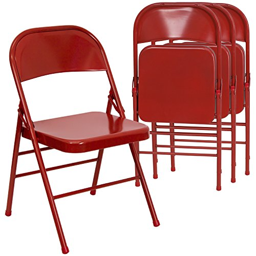 Flash Furniture 4 Pk. HERCULES Series Triple Braced & Double Hinged Red Metal Folding Chair by Flash Furniture