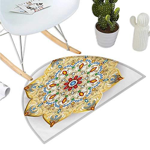 (Mandala Semicircular Cushion Brooch Inspired Design Mandala Geometric Vintage Design Lively Figure Digital Print Halfmoon doormats H 15.7