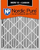 Nordic Pure 16x25x4M15+C 16-Inch by 25-Inch by 4-Inch MERV 15 Plus Carbon AC Furnace Air Filter, 6-Piece