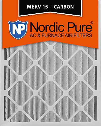 Furnace Carbon (Nordic Pure 16x25x4 (3-5/8 Actual Depth) MERV 15 Plus Carbon AC Furnace Air Filters, Box of 2)