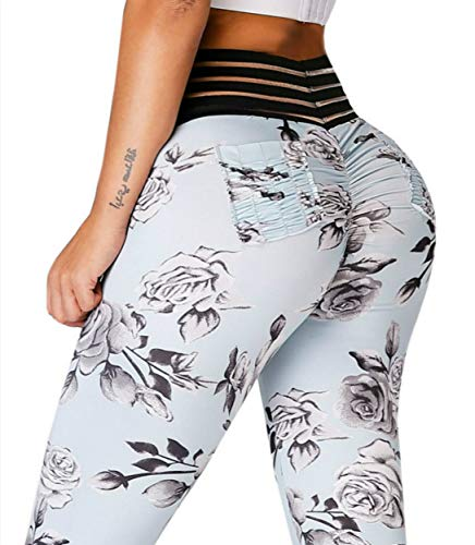 Meilidress Womens Ruched Butt Lifting Leggings High Waisted Workout Sport Tummy Control Gym Yoga Pants (Small, 2-Picture Color)