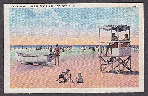 Life Guards on the Beach Atlantic City NJ postcard 1935 (Atlantic City Nj Postcard)