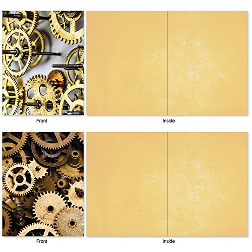 M2014 Gearing Up: 10 Assorted Blank All-Occasion Note Cards Feature Cogs, Gears and Other Things That Make Machines Tick, w/White Envelopes. Photo #3