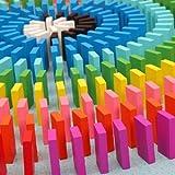 Eshowy 120PCS Wooden Dominos Blocks Set, colorato per Bambini Gioco educativo Giocattolo, Domino Racing Toy Game