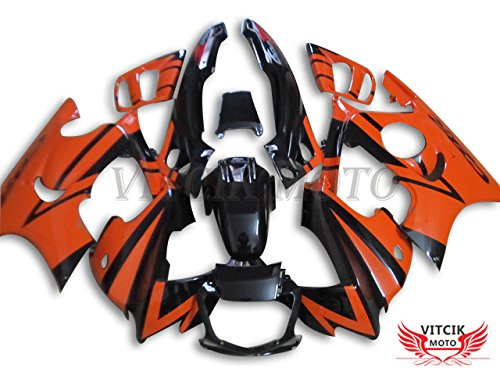 VITCIK (フェアリングキット 対応車種 ホンダ Honda CBR600F3 CBR600F 1995 1996 CBR600 F3 95 96) プラスチックABS射出成型 完全なオートバイ車体 アフターマーケット車体フレーム 外装パーツセット(オレンジ色 & ブラック) A016   B076M2G8MD