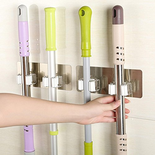Compia Wall Mounted Mop Broom Sweeper Brush Hanger Storage Organizer Holder Rack Kitchen Tool Utility Garden Tool Garage Storage & Organization Hangers Rack Accessories Attachments with 2 Positions