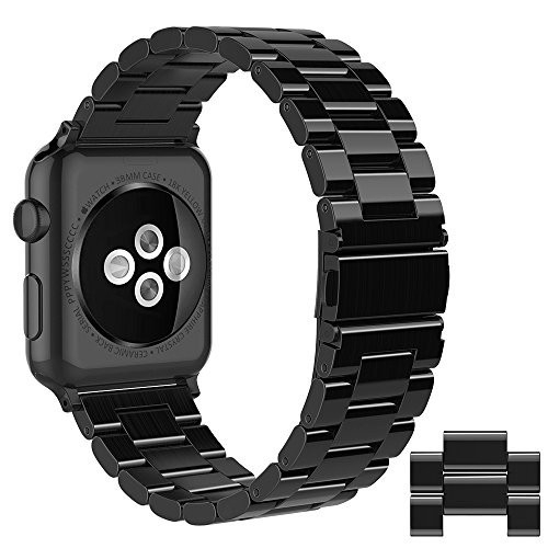 Simpeak Compatible for Apple Watch Band 42mm 44mm, Adjustment Stainless Steel Band for 42mm iWatch Series 4 3 2 1, with Tool and 2pcs Links, Bright Black for Men