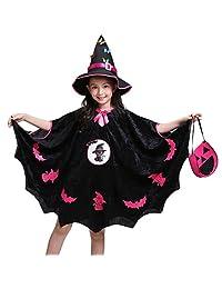Veepola Kids Baby Girls Halloween Costume Dress Party Cloak+Hat Outfit+Pumpkin Bag
