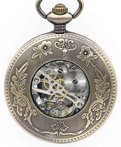 YXZQ懐中時計、ユニークなスチームパンクな太陽の花中空デザイン機械式男性時計レトロスケルトン手風FOB時計