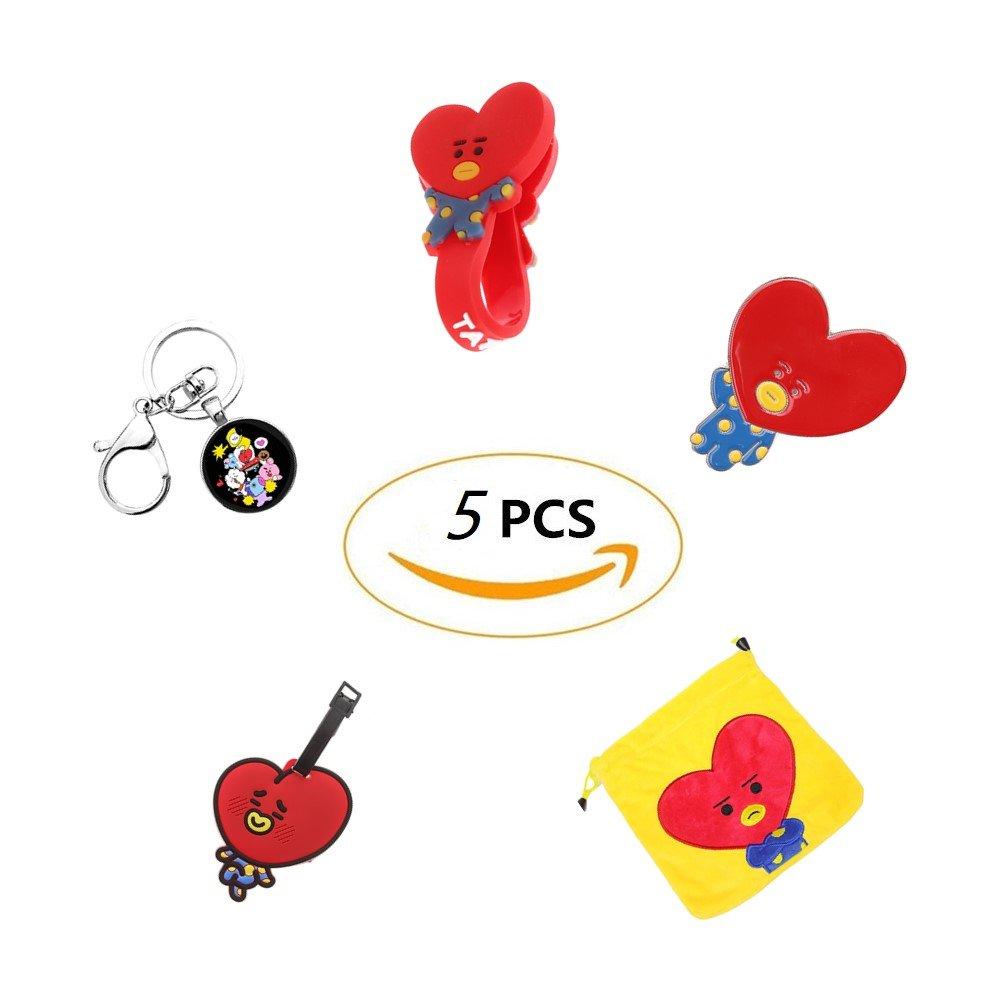 Grapes Garden BTS Bangtan Gar/çons /Étiquette de Bagage Cartoon Q Version de Cr/éatifs Pour Un Bon Cadeau ou Collection Porte-cl/és Sac de Rangement Enrouleur de /Écouteurs Broches Badge