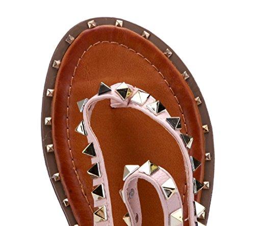 Schuhtempel24 Damen Schuhe Zehentrenner Sandalen Sandaletten Flach Nieten Rosa