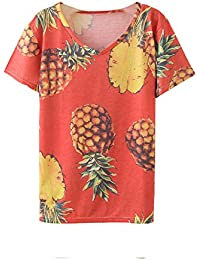 Women Tropical Graphic Pineapples Print Loose Tee Shirt Tops