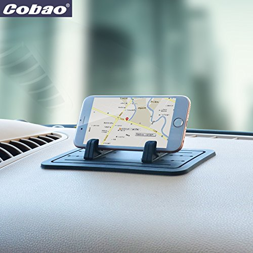 Cobao Car Silicone Anti-Slip Pad Dash Mat & Cell Phone Mount Holder Cradle Dock for Any Smartphone iPhone X/8/7/6/5/4 (S Plus) Samsung Galaxy S7/S6/S5/S4 Edge 7 & GPS Table Holder 2 in 1 ATEX AT-10