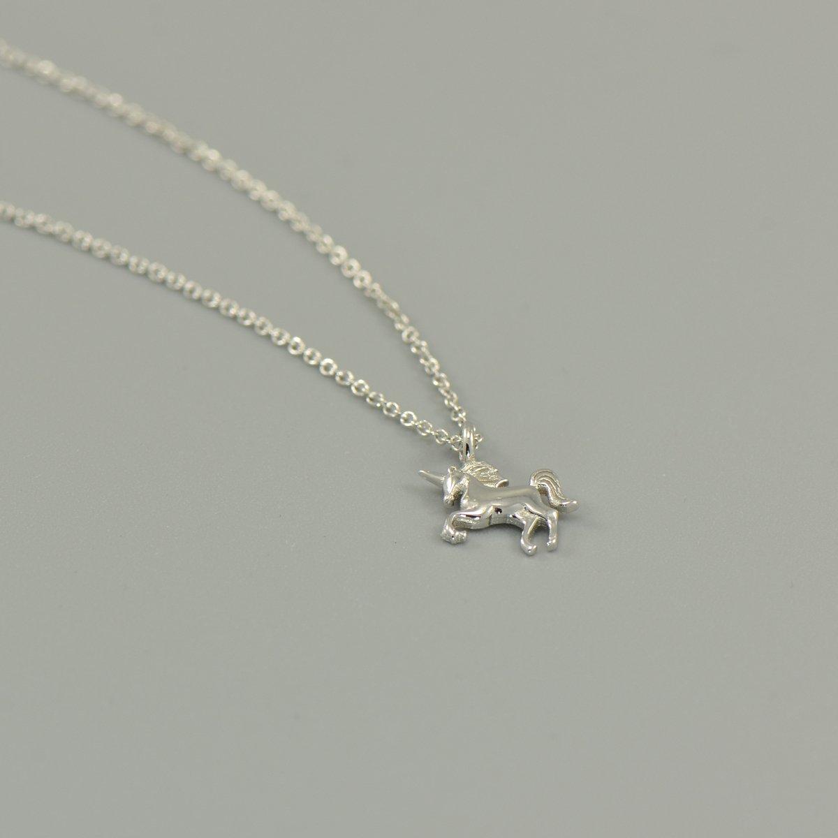 925 Sterling Silver Tiny Unicorn Charm Pendant Necklace 16