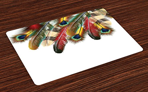 Ambesonne Peacock Place Mats Set of 4, Mystical Colorful Peacock Feathers Vibrant Universal Link Icons Bohemian Theme, Washable Fabric Placemats for Dining Room Kitchen Table Decor, Multicolor ()