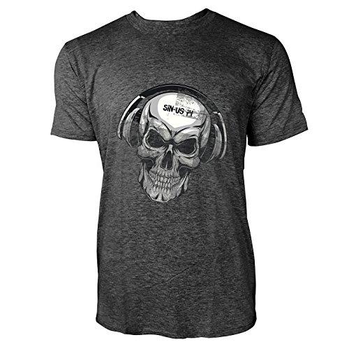 251e0e91c71e18 SINUS ART® Totenkopf mit Kopfhörer Herren T-Shirts in dunkelgrau Fun Shirt  mit tollen