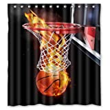 Cool Basketball Burning Flame Love Sport - Fashion Personalized Bathroom Shower Curtain Waterproof Polyester Fabric 66(w)x72(h) Rings Included