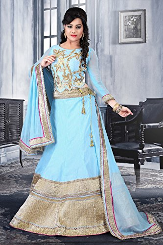 Da Facioun Silk Fabric Sky Blue Pretty Circular Lehenga Style With Lace Work Dupatta 79533