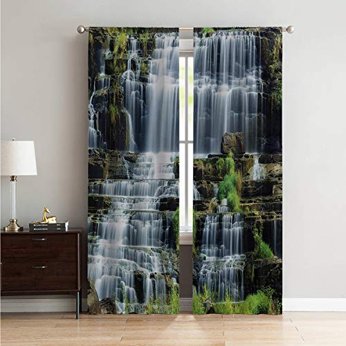Patio Door Curtain Panel Window Rainforest,Waterfall in The Middle of Tropical Jungle Natural Scenery Countryside Style,Green White W84 x L96 Inch ()