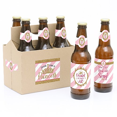 (Big Dot of Happiness Little Princess Crown - Pink and Gold Princess Baby Shower or Birthday Party Decorations for Women and Men - 6 Beer Bottle Label Stickers and 1 Carrier)