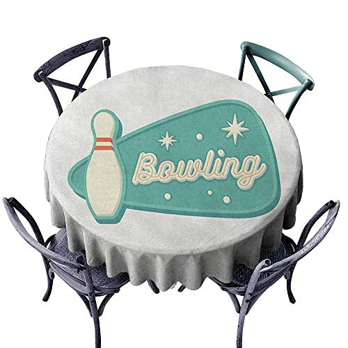 - duommhome Bowling Fitted Tablecloth Vintage Design in Traditional American Style Hobby Fun Sports Theme Great for Buffet Table D39 Seafoam Cream and Rust