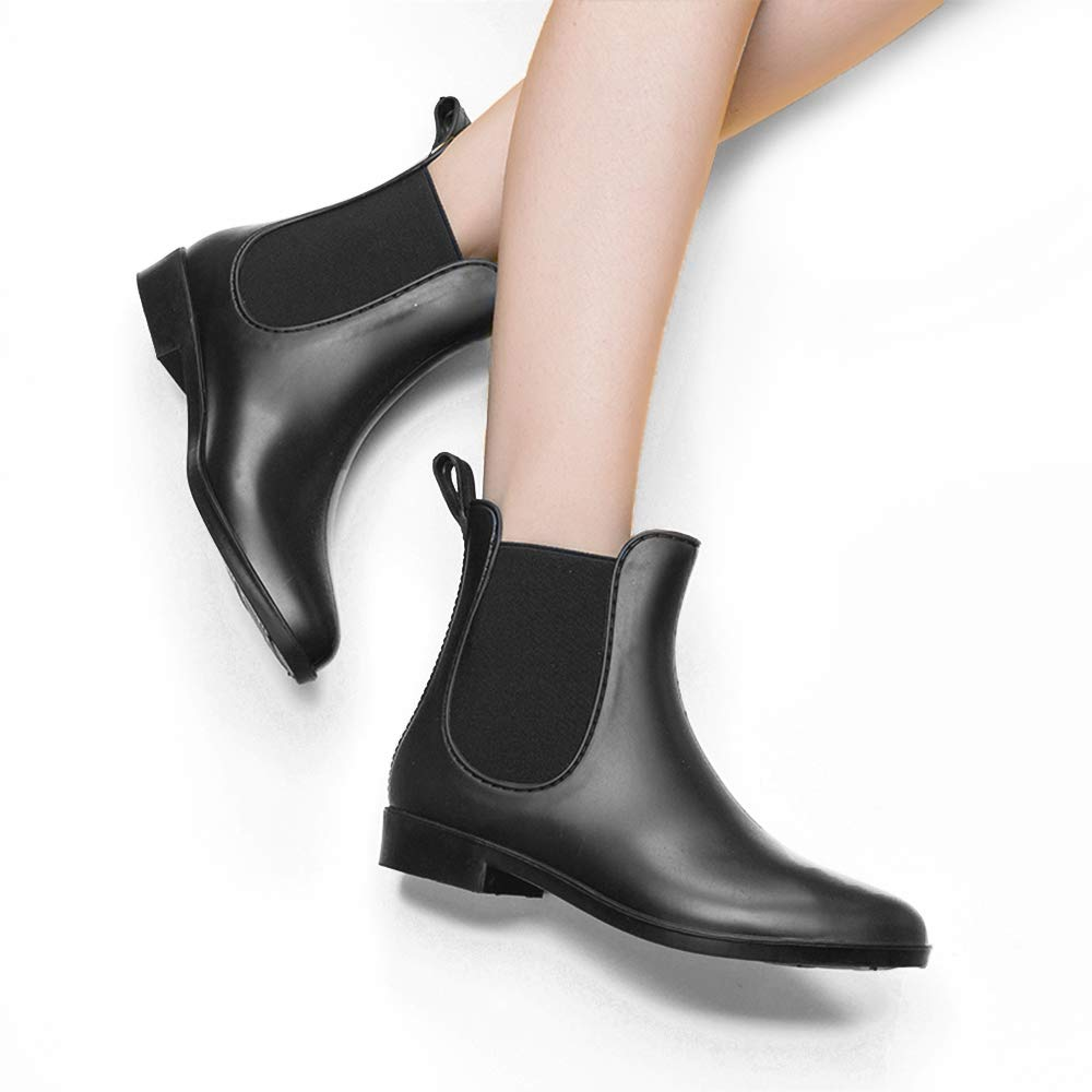 5308a67bf3dd4 DKSUKO Women's Rain Boots Short Ankle Classical with Waterproof Black  Elastic Rain Shoes for Women Slip On Booties (6 B(M) US, Matte)