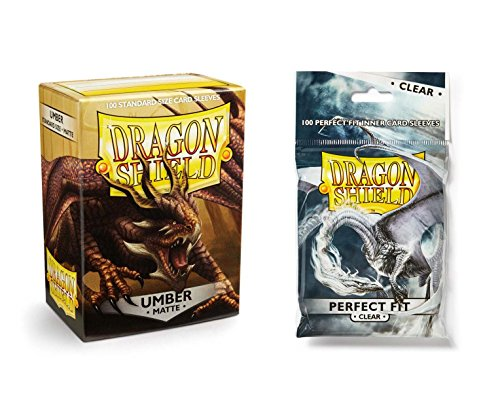 Dragon Shield Bundle: Matte Umber 100 Count Standard Size Deck Protector Sleeves + 100 Count Clear Perfect Fit Inner Card Sleeves by Dragon Shield