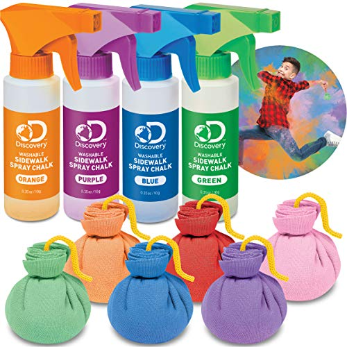 Discovery Kids 10-Piece Chalk Blast Play Set with Washable Chalk Pods and Spray Art, Arts and Crafts Kit, Decorate Sidewalk and Driveway, Create Masterpieces on Walls or Patio, Best Outdoor Splash Art (Neon Color Explosion)