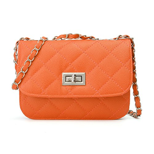 with Cross Clutch Bag Evening Body OURBAG Crossbody Quilted Shoulder Orange Purse Handbag Leather Mini PU Chain HOwYA