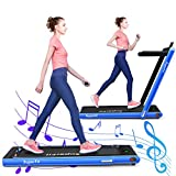 GYMAX Under Desk Treadmill, Motorized Running/Jogging Machine with Blue-Teeth & LED Display, Multifunctional Folding Treadmill for Exercise, Workout, Home Office Space Saver