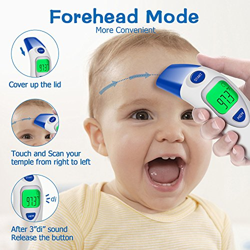 Digital Forehead Thermometer, Zonpor Medical Infrared Baby Thermometer for Fever Kids/Adult with Ear Function Body Basal Thermometers Accurate Reading Medically Proven, FDA and CE Approved by zonpor (Image #3)