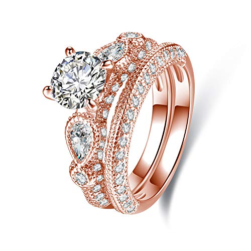 Barzel 18K White Gold Plated Or Rose Gold Plated Cubic Zirconia Multi-Band Engagement Ring Set (Rose Gold, 9)