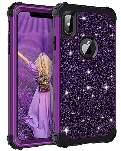 Casetego Compatible iPhone Xs Max Case,Glitter Sparkle Bling Three Layer Heavy Duty Hybrid Sturdy Armor Shockproof Protective Cover Case for Apple iPhone Xs Max 6.5,Shiny Purple