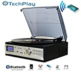 TechPlay ODC19 BT, 3-Speed Turntable with Bluetooth W/SD USB, MP3 Encoding System and AM/FM Stereo Radio & built-in speakers