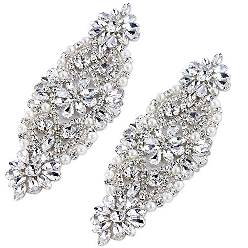 FANGZHIDI Crystal (2PCS) Rhinestone Applique with Pearls for