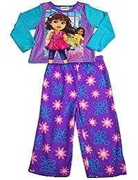 Dora the Explorer - Littlle Girls Long Sleeve Fleece Dora Pajamas, Purple, Turquoise 38248-2T-FBA