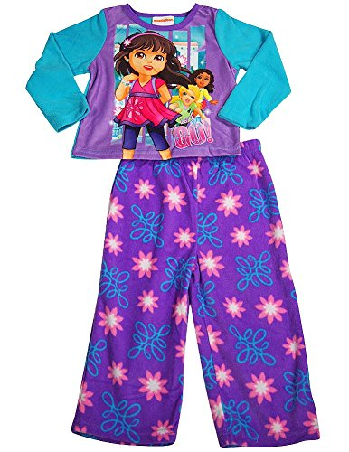 Dora the Explorer - Littlle Girls Long Sleeve Fleece Dora Pajamas, Purple, Turquoise -