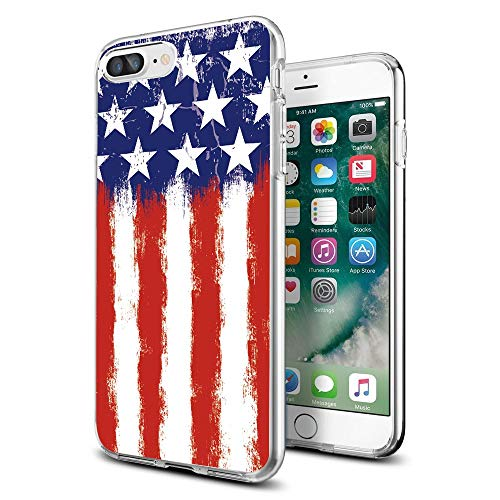 Cocomong American Flag Cute Clear iPhone Case for iPhone 8 Plus/iPhone 7 Plus Designer for Women Girls Men
