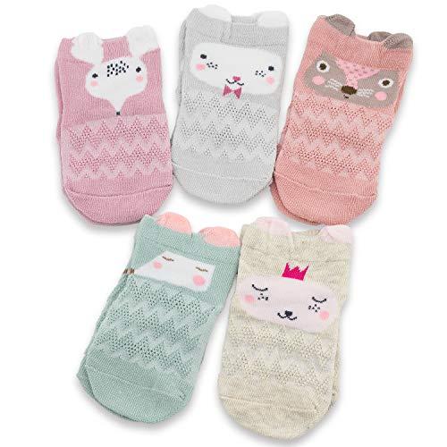 CoCoCute Baby Infant Socks 5 Pack Kids Socks Toddlers Spring Socks Girls Boys Cotton Socks (S(1-3Y), Rabbit)