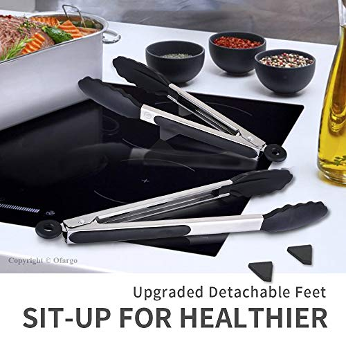 """Ofargo Stainless Steel Salad Tongs Kitchen Tongs with Silicone Tips for Cooking, Non-Stick, 9""""+12"""", 2-Pack, Black"""